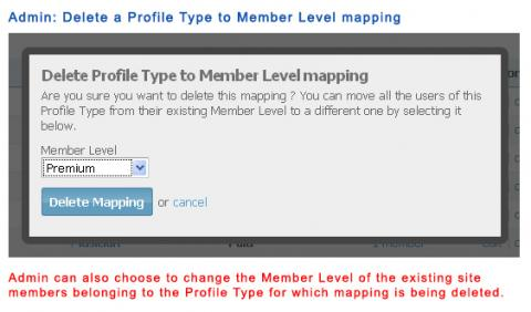 Admin: Delete a Profile Type to Member Level mapping