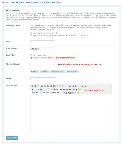 Admin : Email Members (Sending Email to Particular Members)