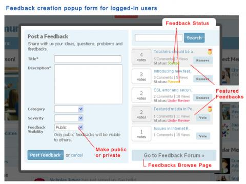 Feedback creation popup form for logged-in users