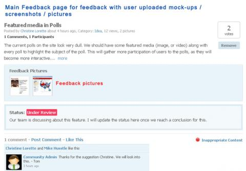 Main Feedback page for feedback with user uploaded mock-ups / screenshots / pictures