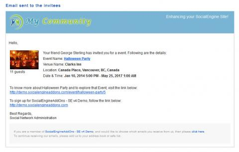 Email sent to the invitees