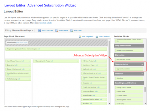 Layout Editor: Advanced Subscription Widget