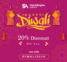 Delightful Diwali Discount - Flat 20% discount on SocialEngineAddOns Products