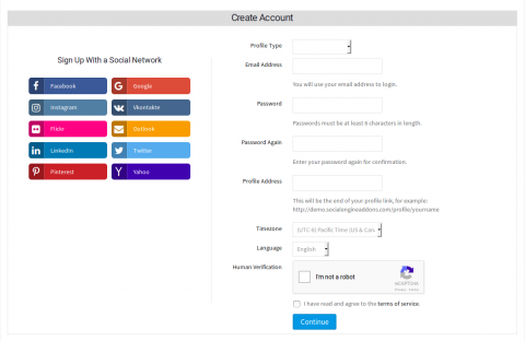 Signup With Social Login Options at the Left