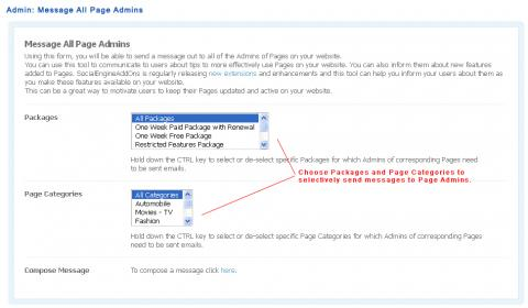Admin: Message All Page Admins