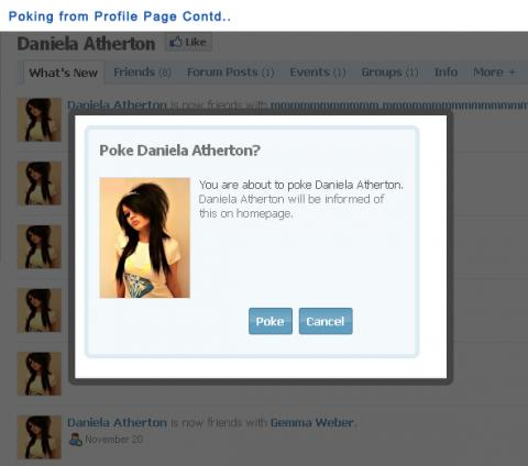 Poking from Profile Page Contd..