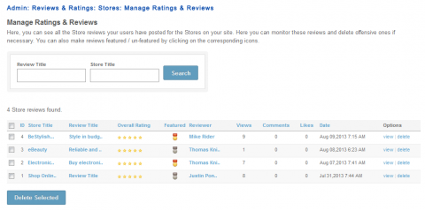Admin: Reviews & Ratings: Stores: Manage Ratings & Reviews