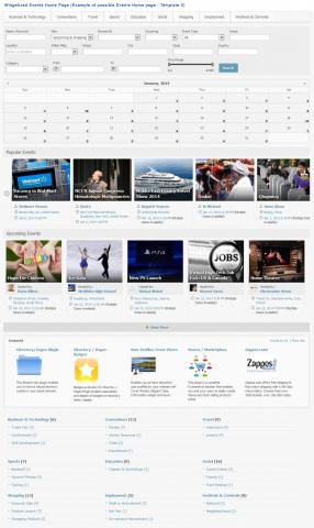 Widgetized Events Home (Example of possible Events home page - Template 3)