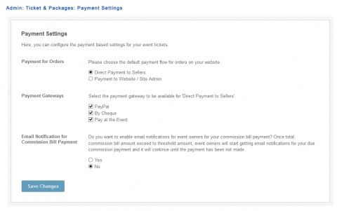 Admin: Ticket & Packages: Payment Settings