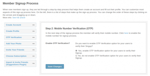 Sign Up Process: OTP Verification