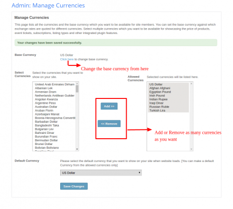 Admin: Manage Currencies