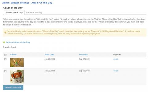 Admin: Widget Settings - Album Of The Day