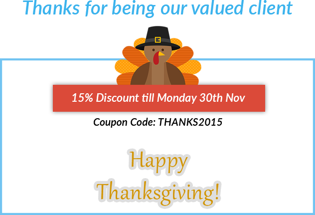Thanksgiving Discount Code THANKS2015