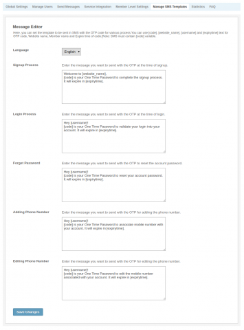 Manage SMS Templates