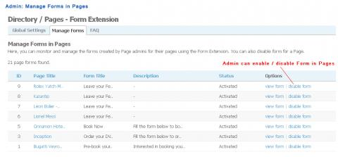Admin: Manage Forms in Pages