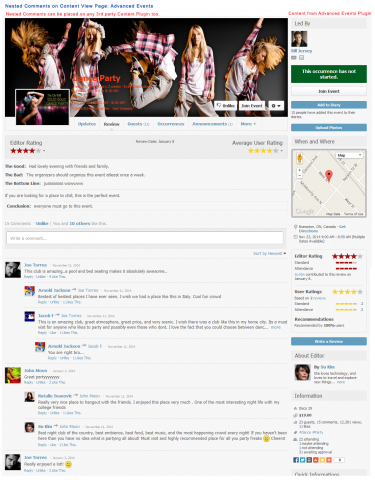 Advanced Comments on Content View Page: Advanced Events