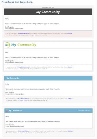 Pre-configured Email Designs Contd..