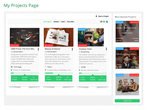 My Projects Page