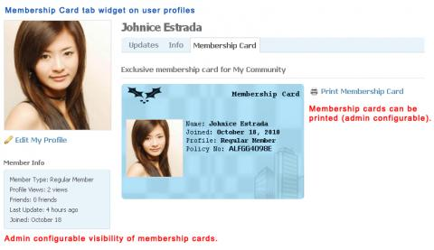 Membership Card tab widget on user profiles