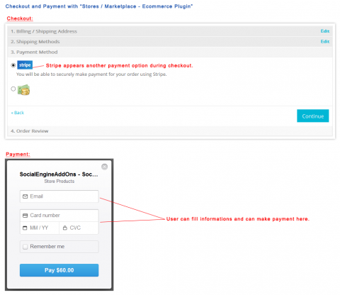 "Checkout and Payment with ""Stores / Marketplace - Ecommerce Plugin"""