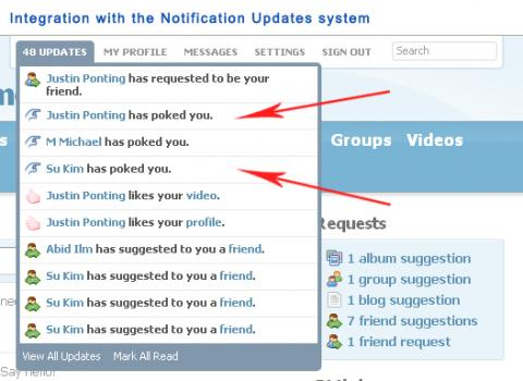 Integration with the Notification Updates system