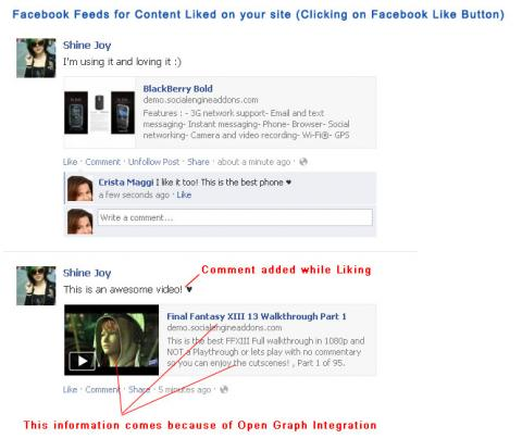 Facebook Feeds for Content Liked on your site (Clicking on Facebook Like Button)