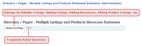Directory / Pages - Multiple Listings and Products Showcase Extension: Administration