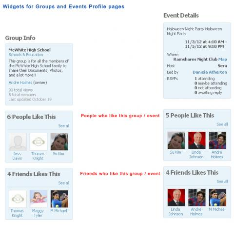 Widgets for Groups and Events Profile pages