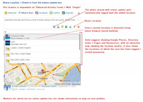 Share Location / Check-in from the status update box