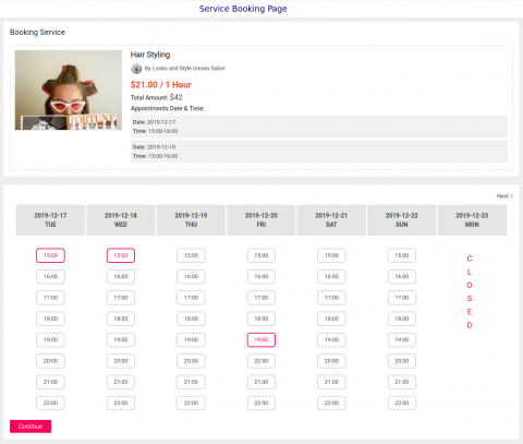 Service Booking Page