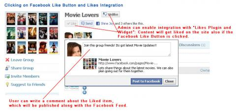 Clicking on Facebook Like Button and Likes Integration