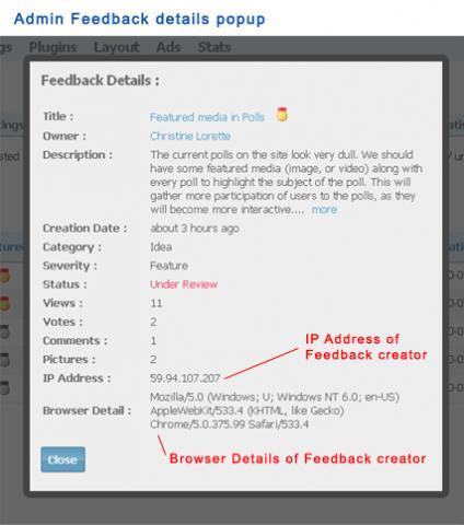 Admin Feedback details popup