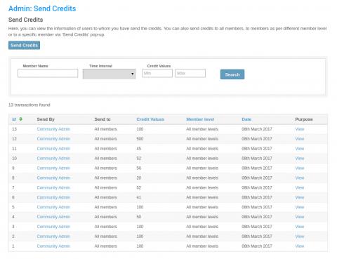 Admin: Send Credits