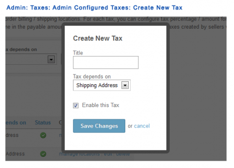 Admin: Taxes: Admin Configured Taxes: Create New Tax