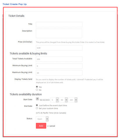 Ticket Create Pop Up