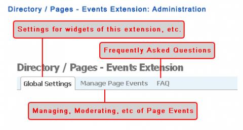 Directory / Pages - Events Extension: Administration