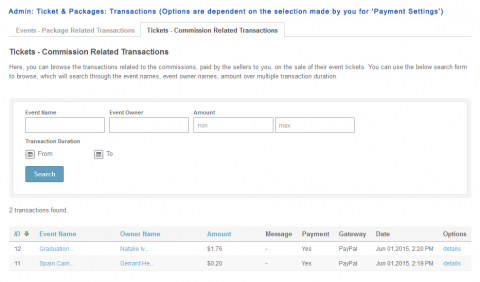 Admin: Ticket & Packages: Transactions (Options are dependent on the selection made by you for 'Payment Settings')