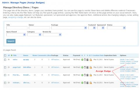 Admin: Manage Pages (Assign Badges)