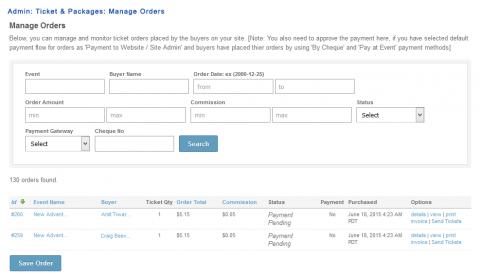 Admin: Ticket & Packages: Manage Orders