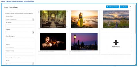 Album Creation and Photos Uploads via Lightbox