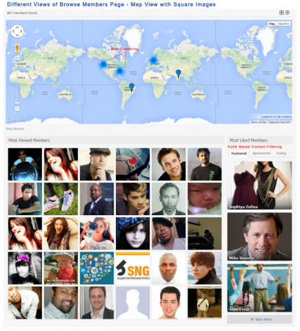 Different Views of Browse Members Page - Map View with Square Images