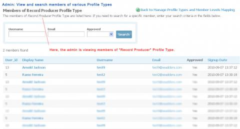 Admin: View and search members of various Profile Types