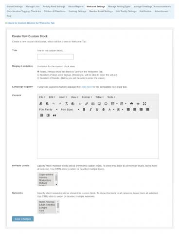 Admin: Welcome Settings - Create New Custom Block