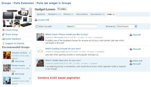 Groups - Polls Extension : Polls tab widget in Groups