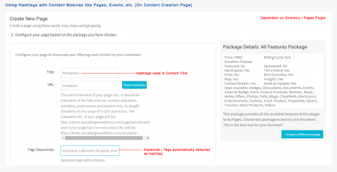 Using Hashtags with Content Modules like Pages, Events, etc. [On Content Creation Page]