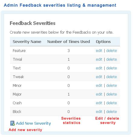 Admin Feedback severities listing and management