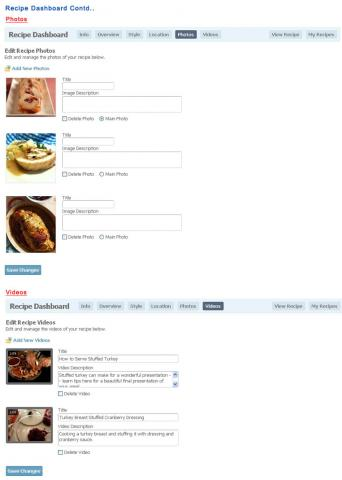Recipe Dashboard Contd..