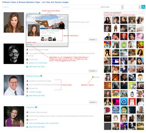 Different Views of Browse Members Page - List View with Square Images