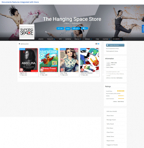 Documents Features Integrated with Store